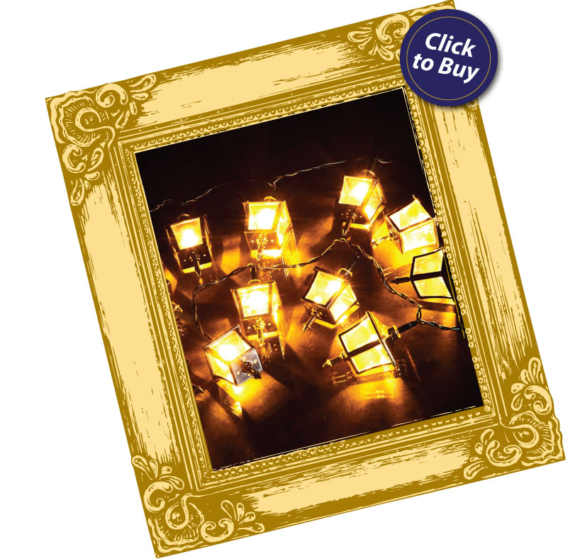 click to buy the '20 Black & Gold Lanterns with 20 Warm White LEDs'