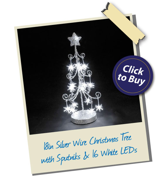 18in Silver Wire Christmas Tree with Sputniks & 16 White LEDs