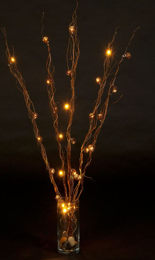 Battery Operated Set of 12 Natural Cane Twigs with 30 Warm White LEDs