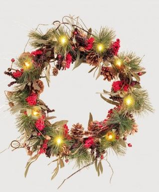 50cm Green Pine & Red Berry Pre Lit Wreath