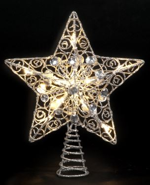 25cm Silver Star Tree Topper with 10 Battery Operated Warm White LEDs