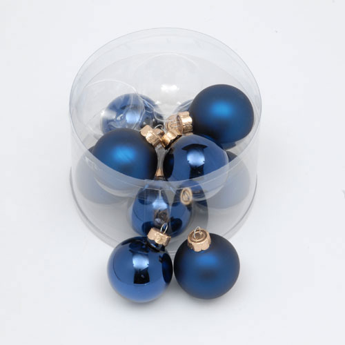 Christmas Trees and Lights Pack of 10x 57mm Dark Blue Glass Ball Shiny & Matt Finish