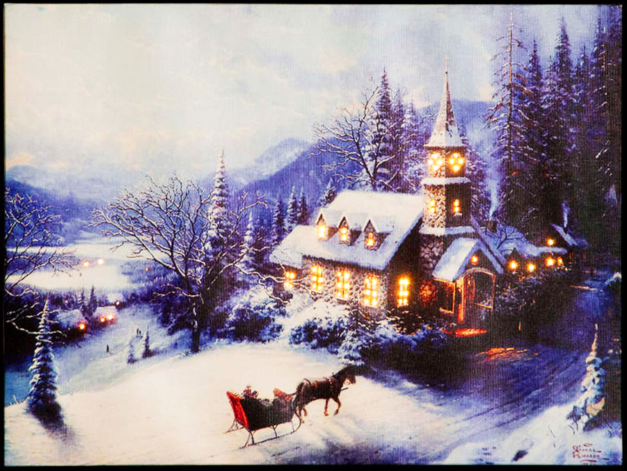 Click to view product details and reviews for Thomas Kinkade Winter Evening Church Illuminated Canvas.