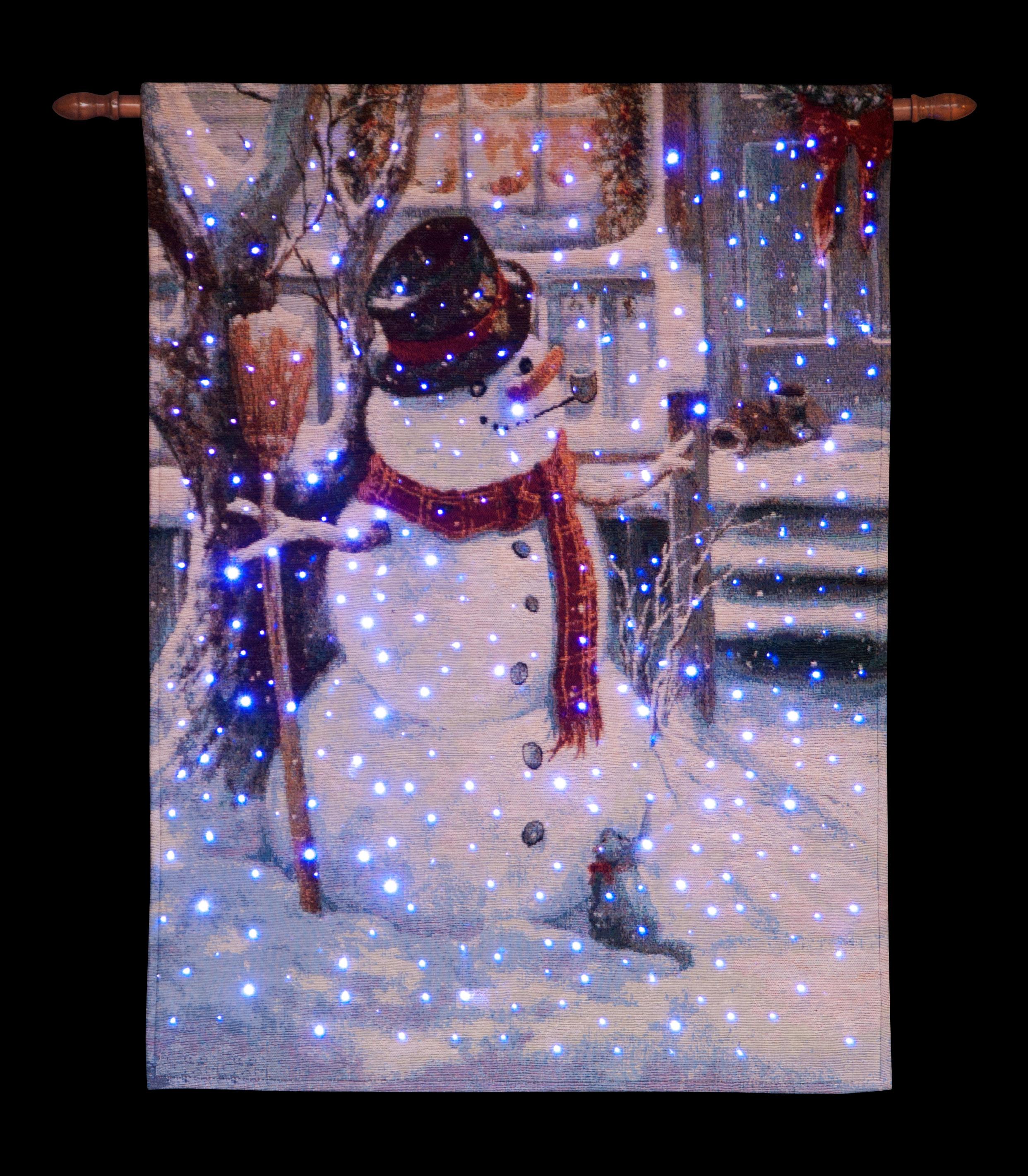 26 x 36in Illuminated Snowman & Kitten Hanging Tapestry