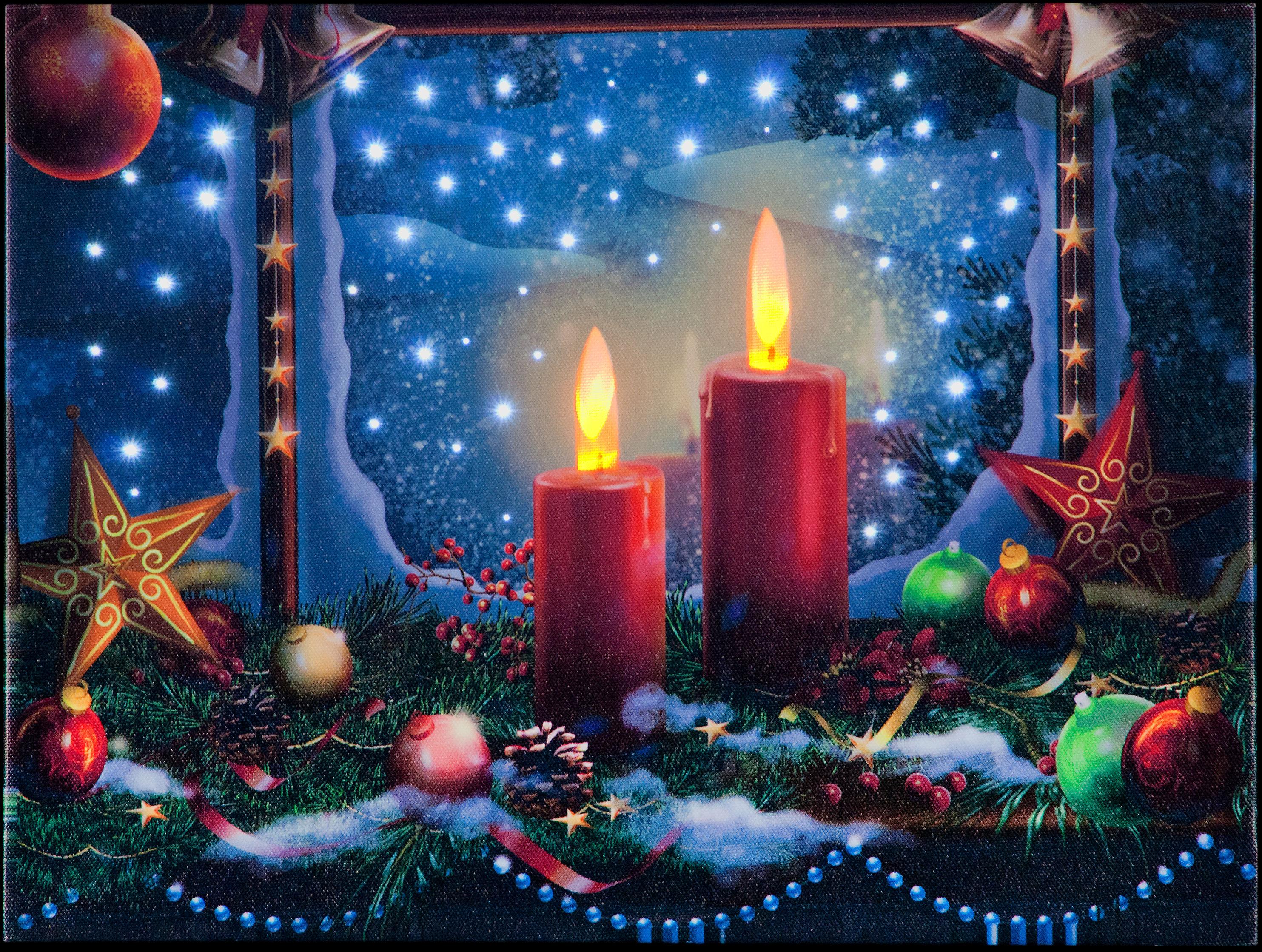 Christmas Candles Illuminated Canvas