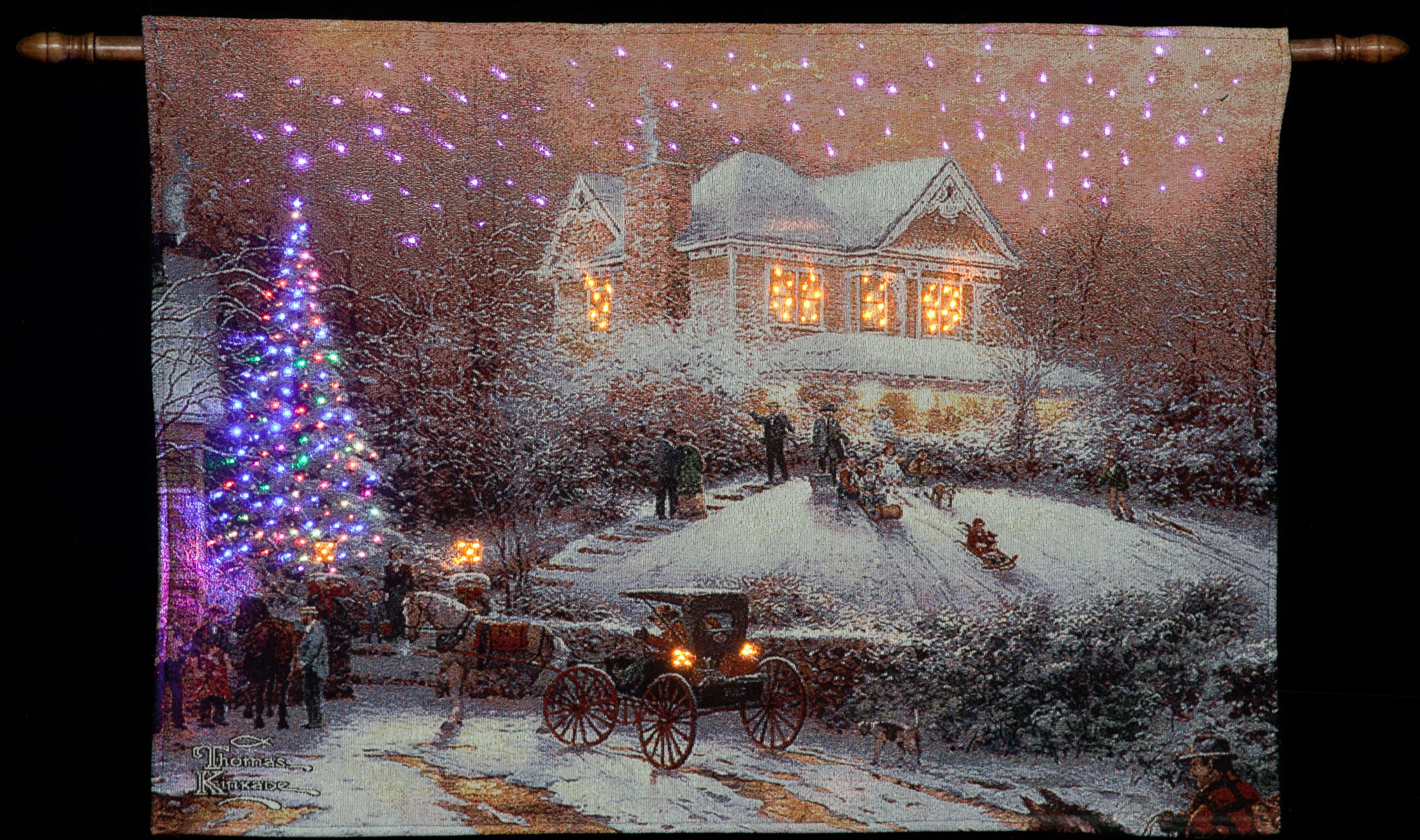 Thomas Kinkade Victorian Christmas Illuminated Hanging Tapestry