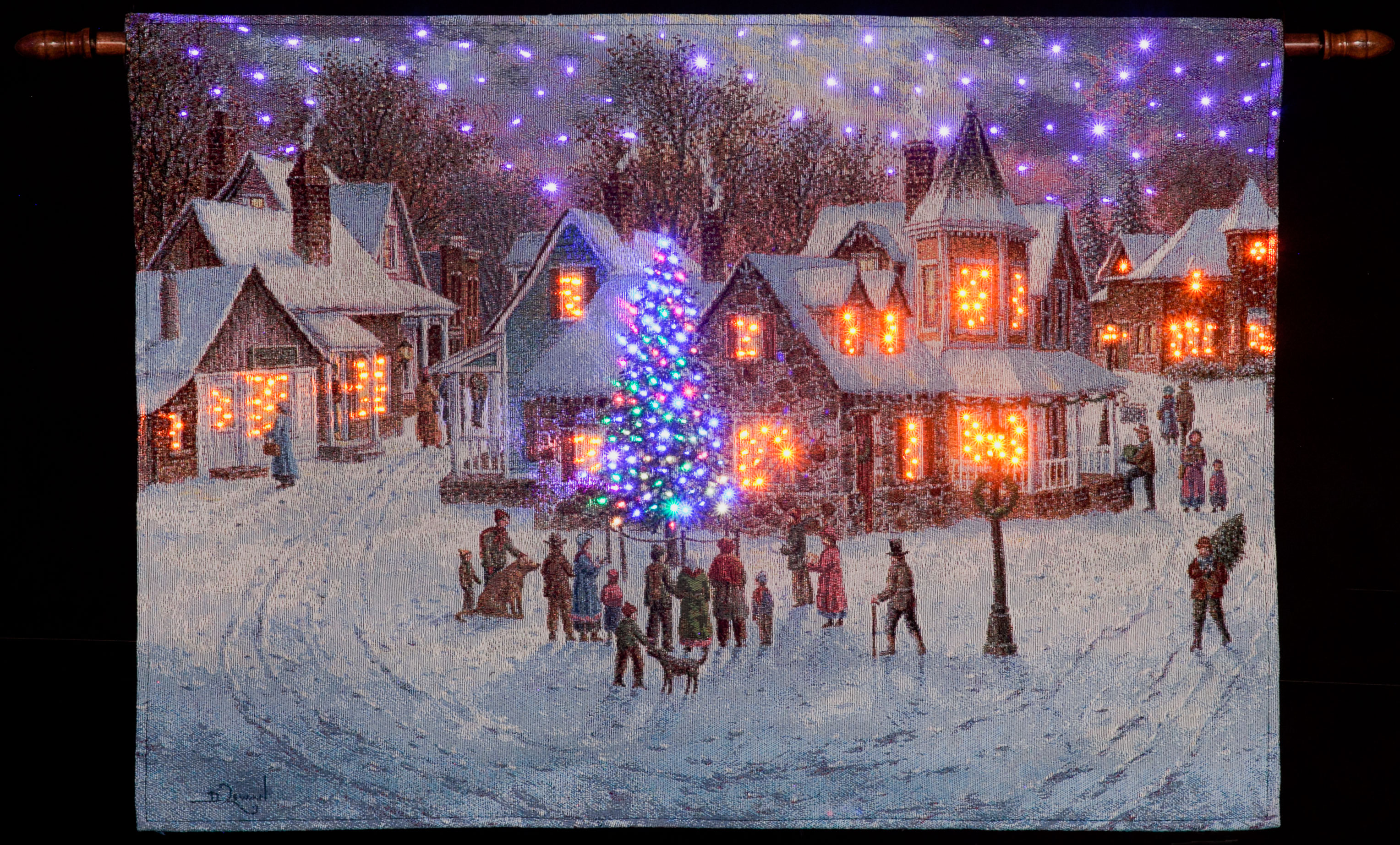 Denis Lewan Christmas Eve Illuminated Hanging Tapestry