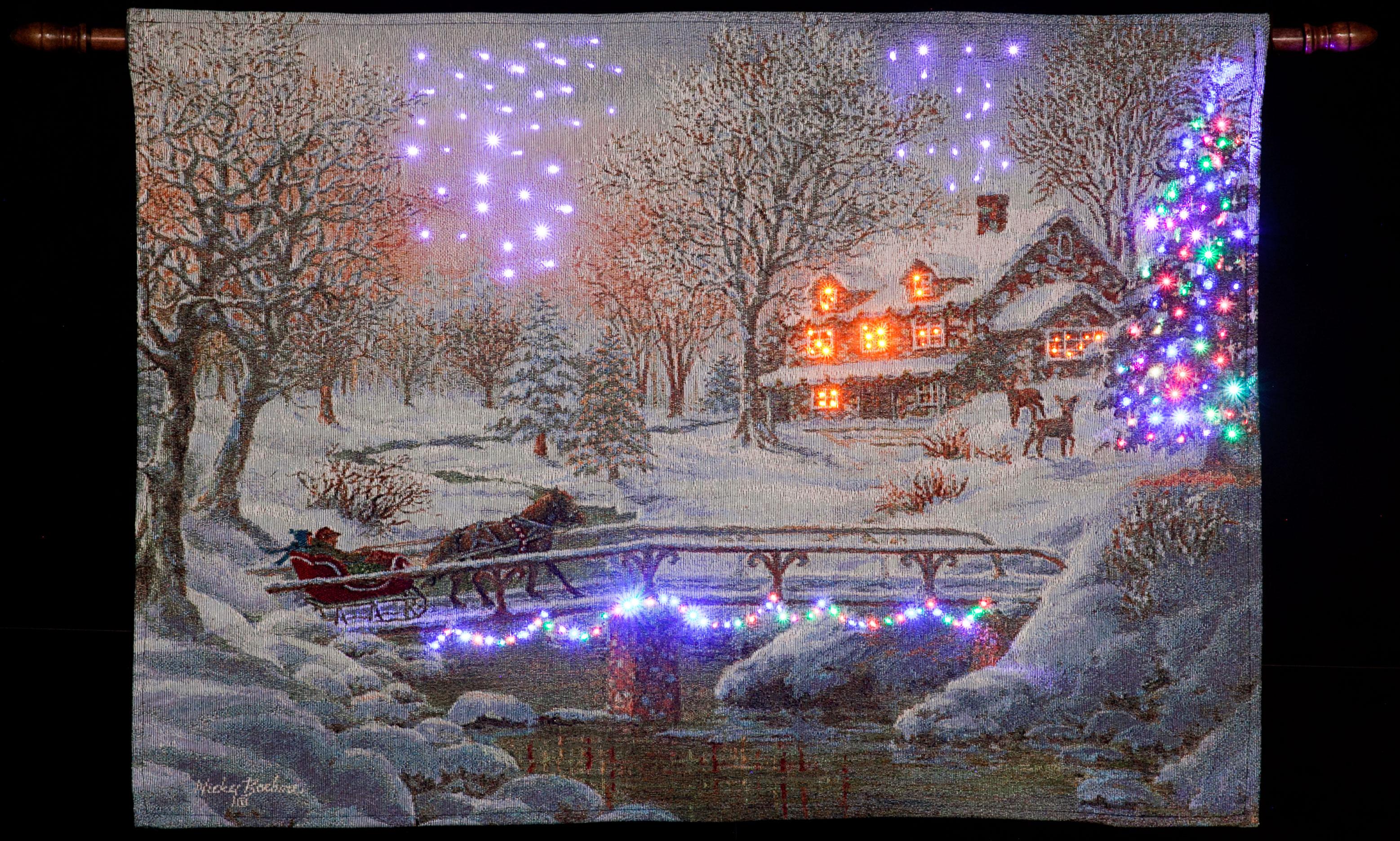 Nicky Boehme Over the Bridge to Grandmas Illuminated Hanging Tapestry