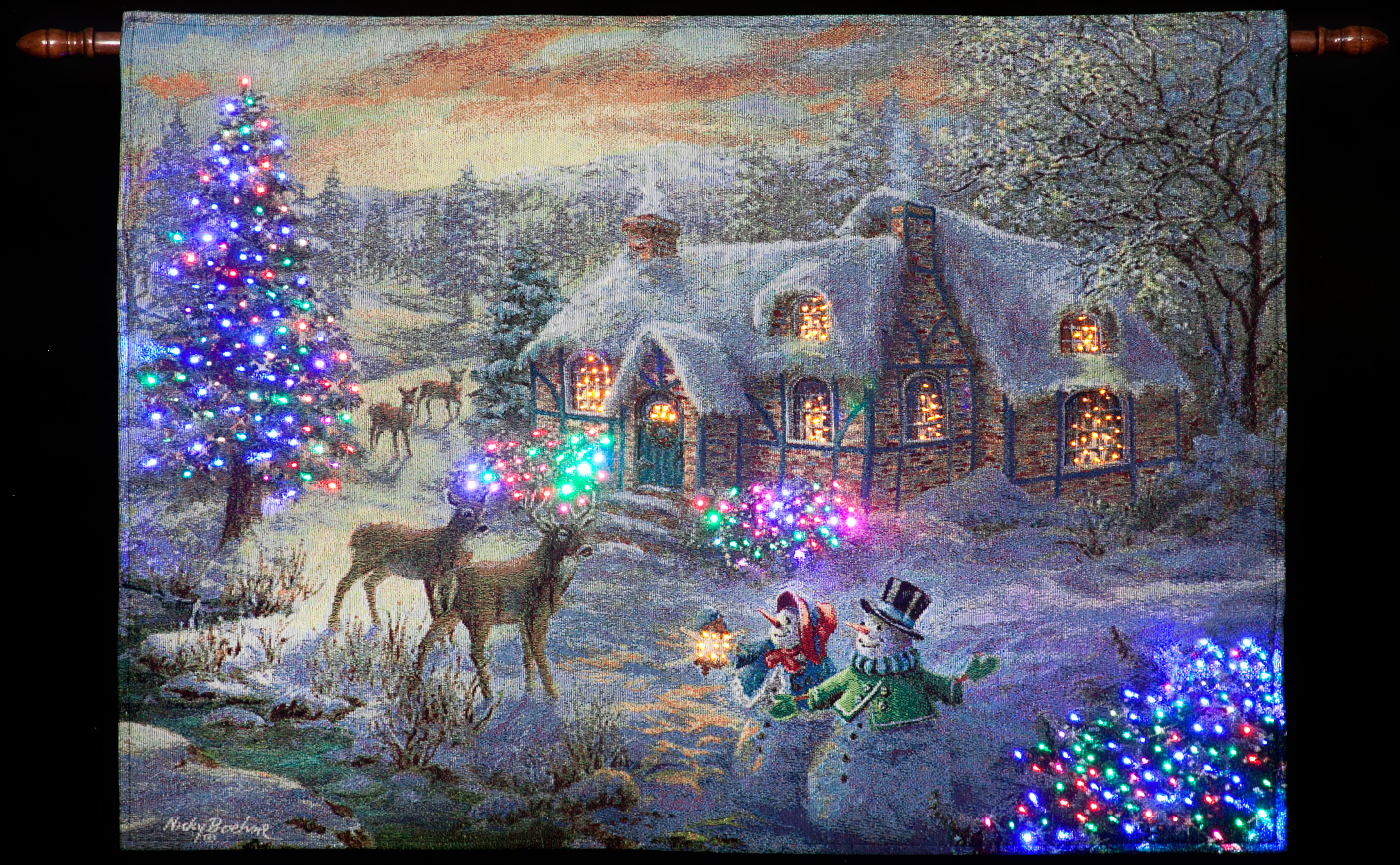 Nicky Boehme Christmas Cottage Illuminated Hanging Tapestry