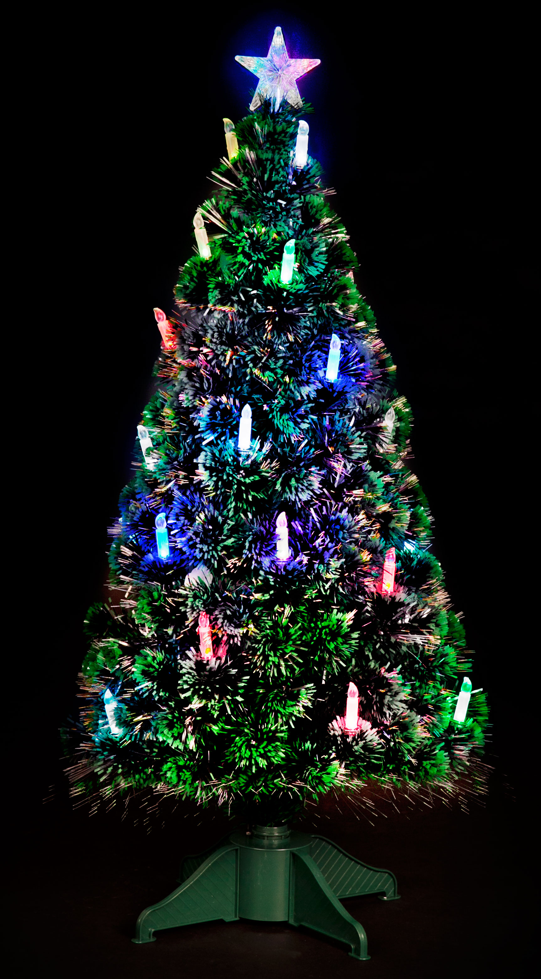 5ft Fibre Optic Tree with with Colour Changing Lights & Candles