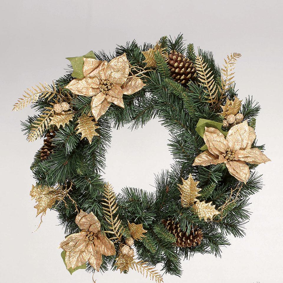 Sainsbury's Gold Poinsettia Wreath 60cm