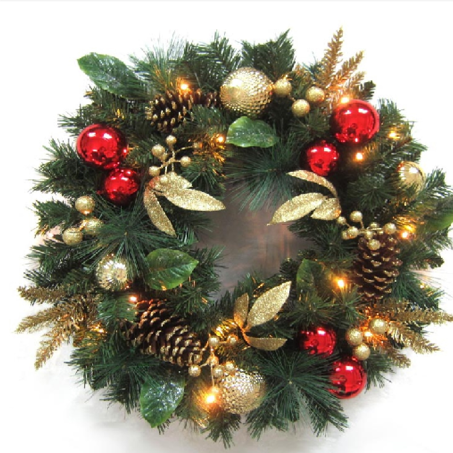 Click to view product details and reviews for Battery Operated 60cm Red Ornament Gold Berry Wreath With 25 Warm White Leds.