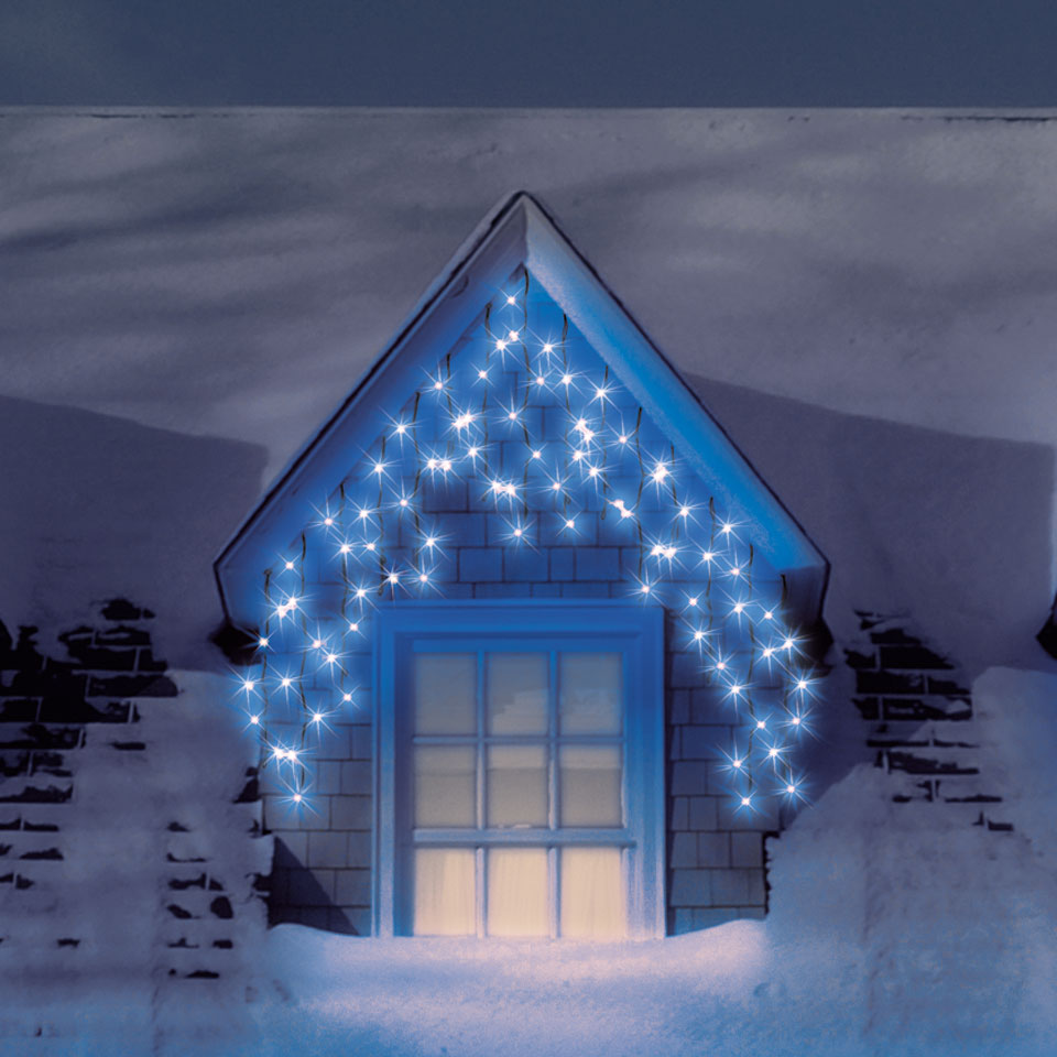Christmas Trees and Lights 4.6m/15ft Set of 200 Blue Multifunction Snowing Icicle LED Lights