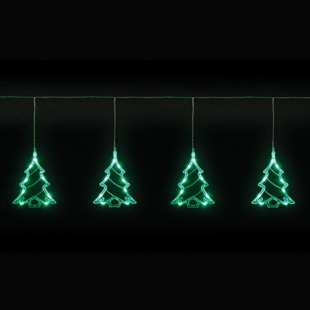 Christmas Trees and Lights 4 Piece Tree Curtain Light Set With Green LEDs