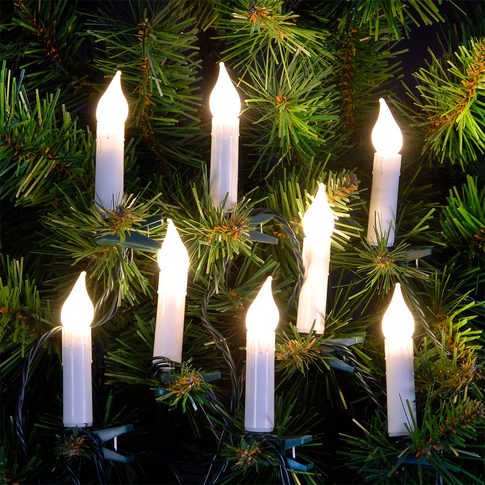String Of Candle Lights For Christmas Tree : 5.7m/ 18ft Set of Warm White Candle LED Christmas Tree Lights eBay