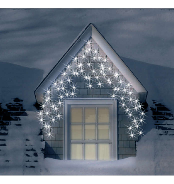 Christmas Trees and Lights 4.6m Set of 200 Frosted Warm White Multifunction Icicle Lights
