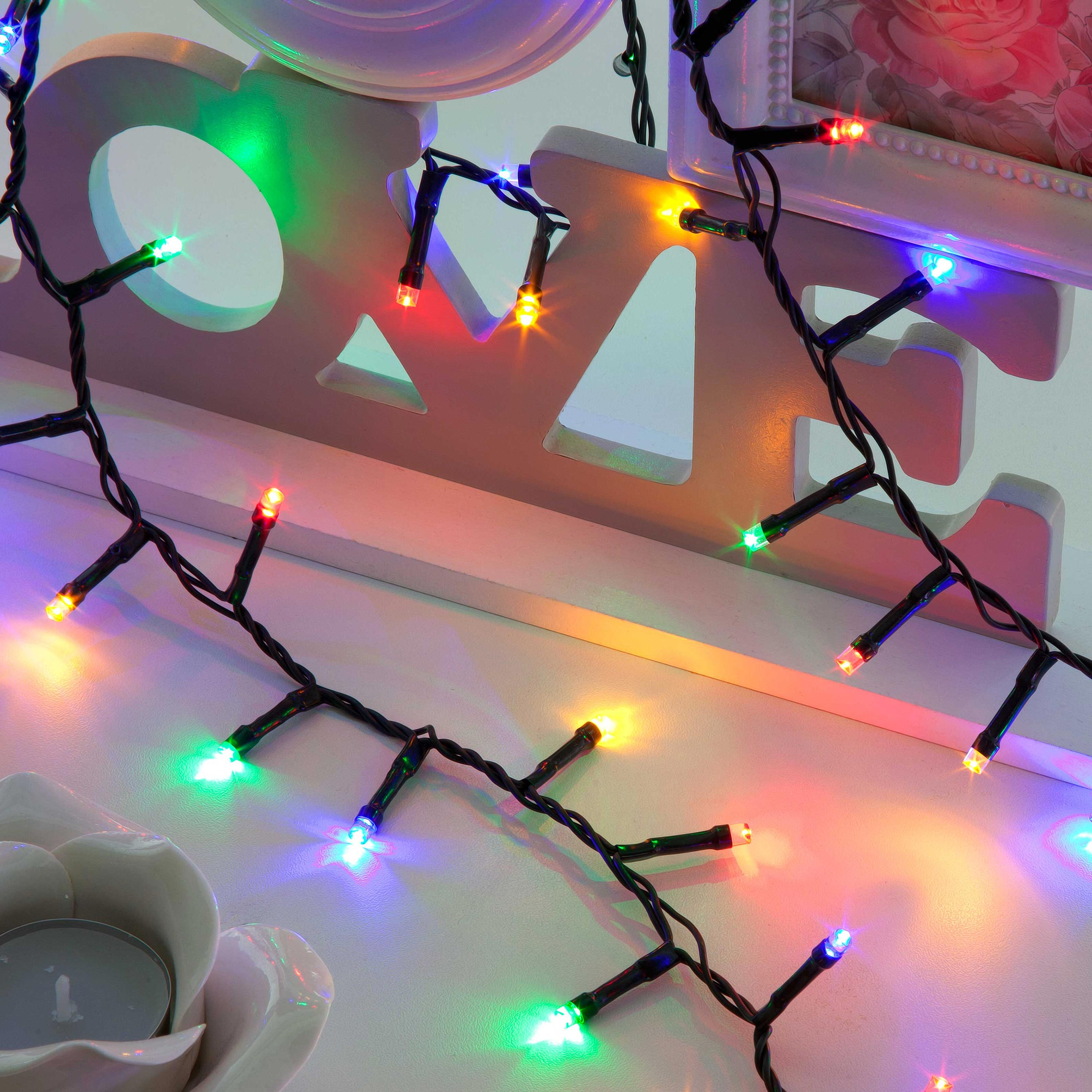 Christmas Trees and Lights 500 Compact Multi-Coloured LEDs with Multi-Function Controller