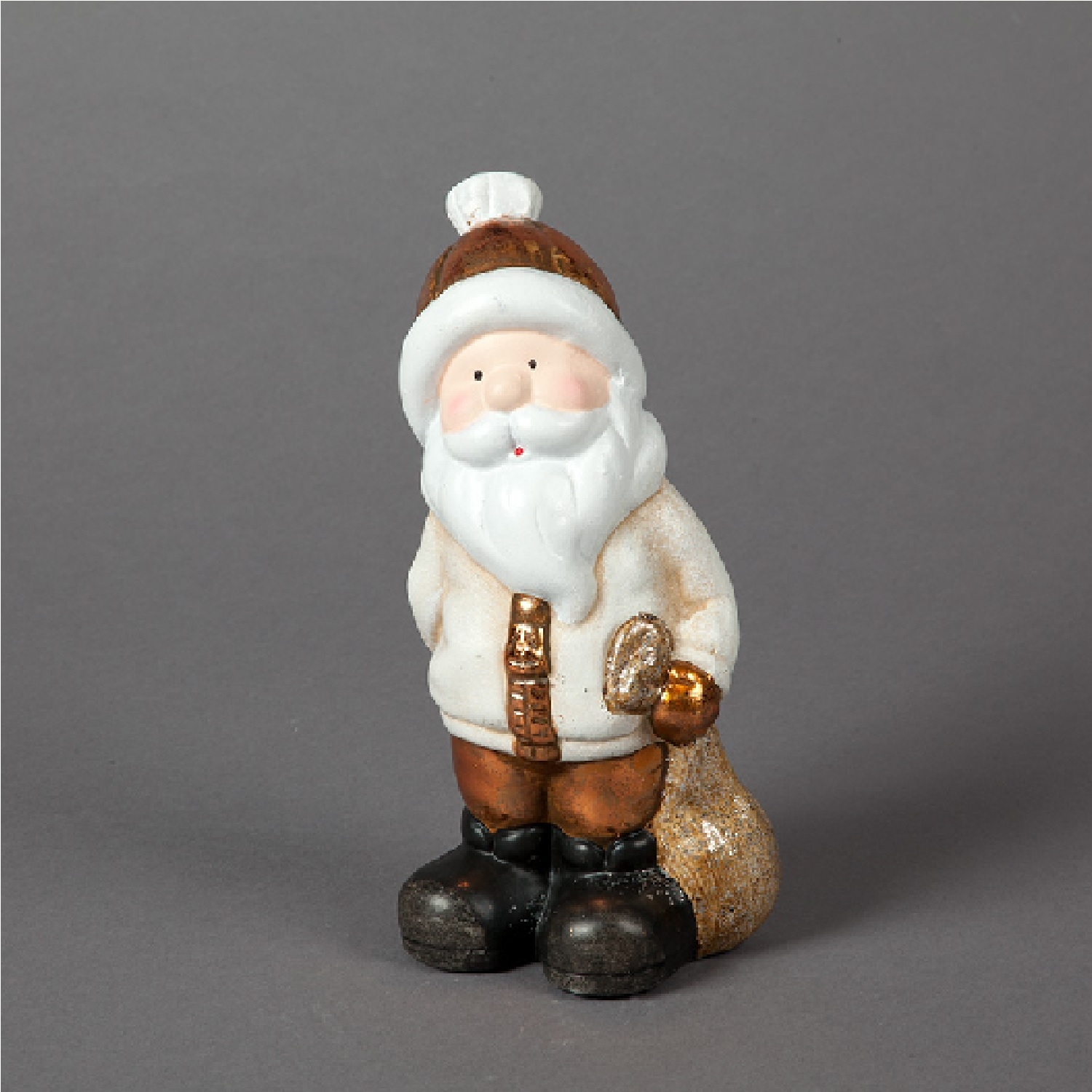Click to view product details and reviews for 22cm Ceramic Copper Santa With Glitter Gift Sack.