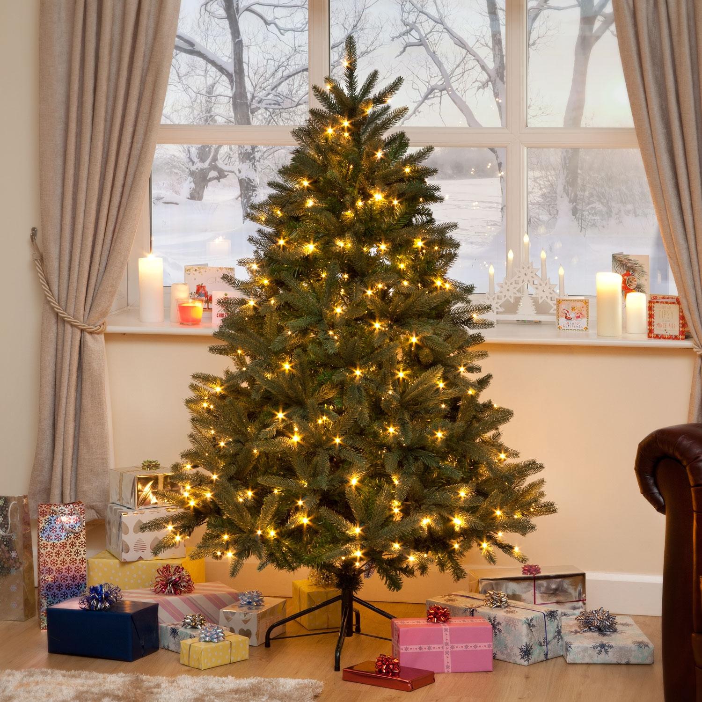 Green Louise Fir Luxury Pre Lit Premium Pe Christmas Tree ...