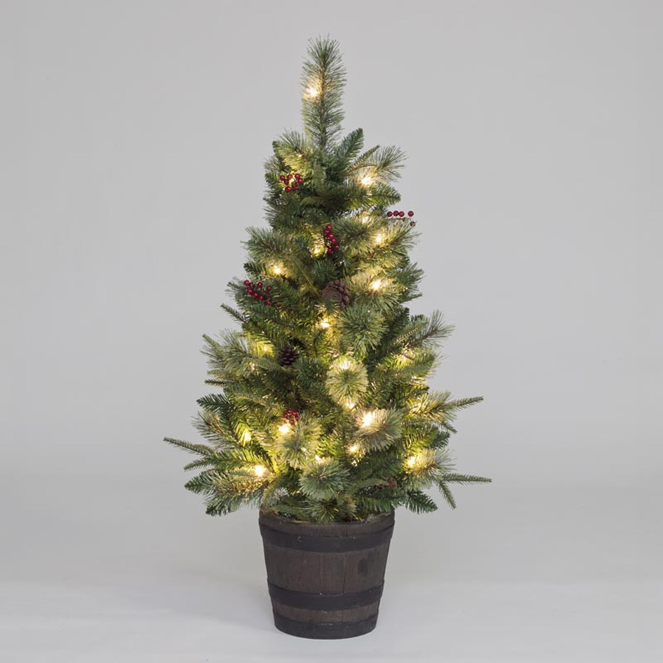 4ft pre lit elk mountain mix pe porch tree of christmas for Artificial christmas decoration tree