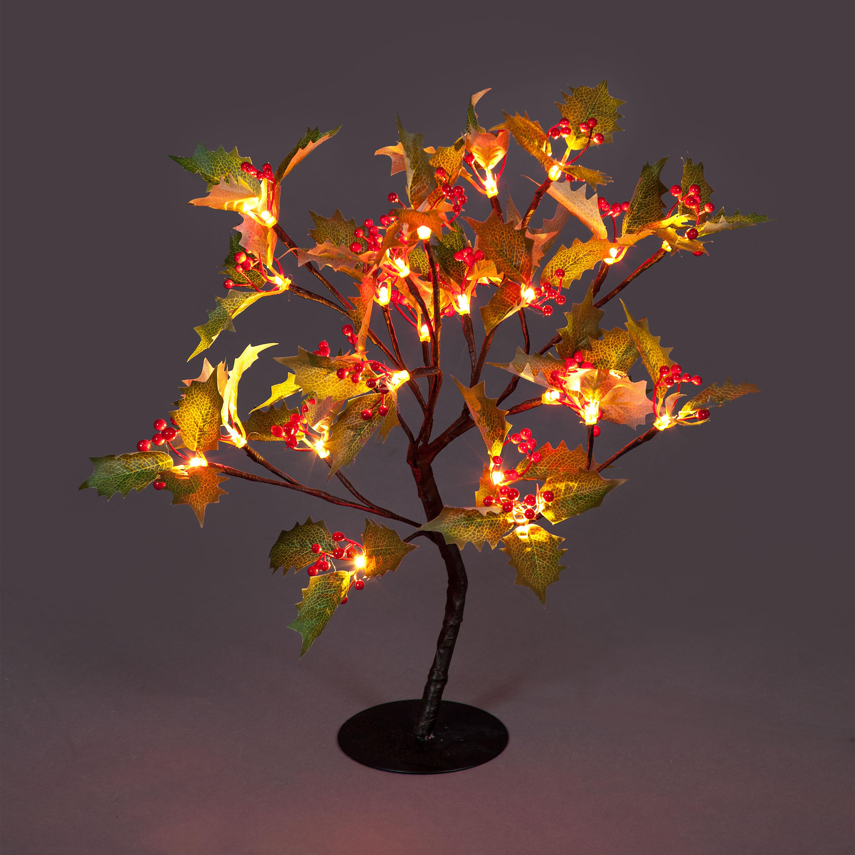 Miniature Illuminated Holly Tree with Warm White LEDs
