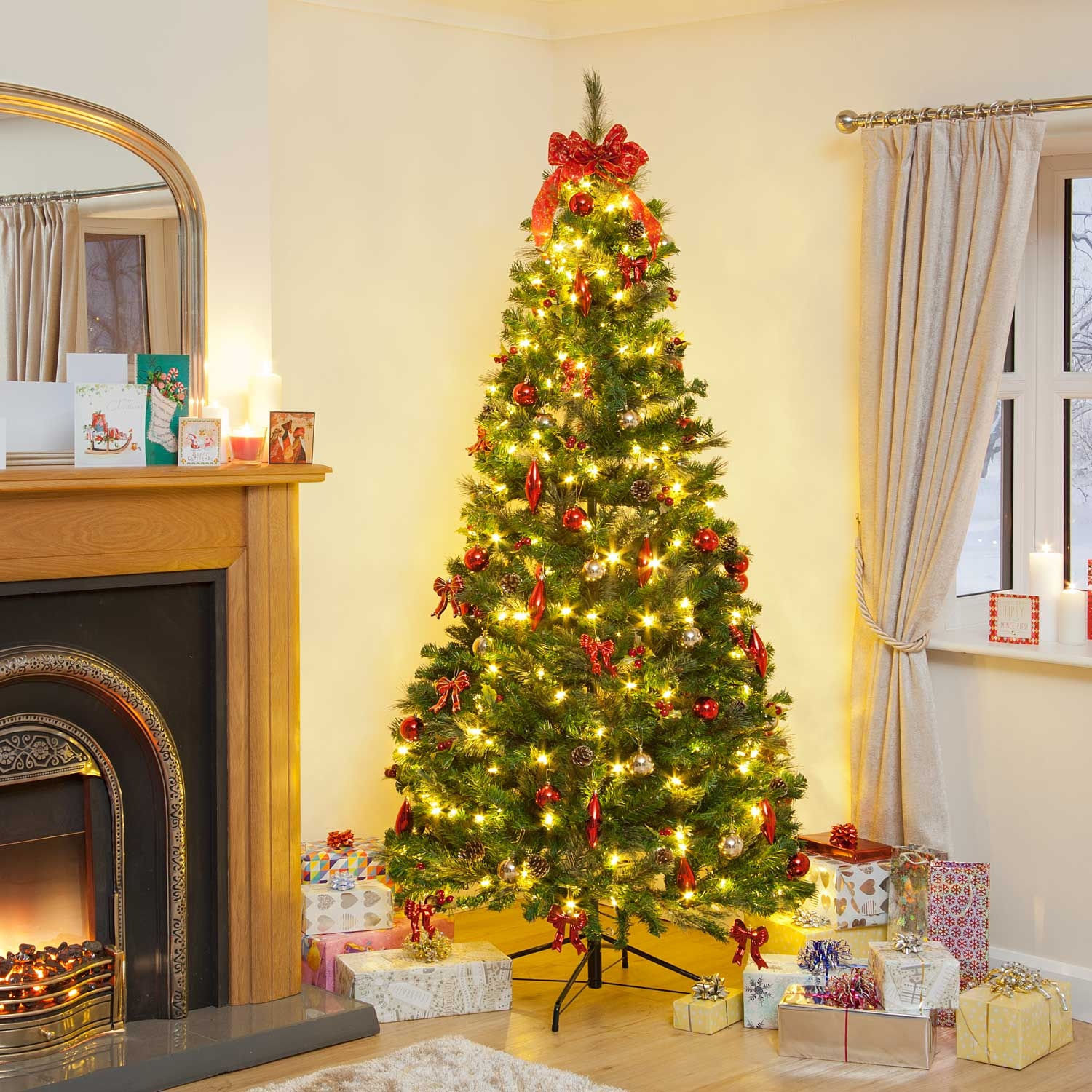 Pre Lit Decorated Pop Up Led Christmas Tree