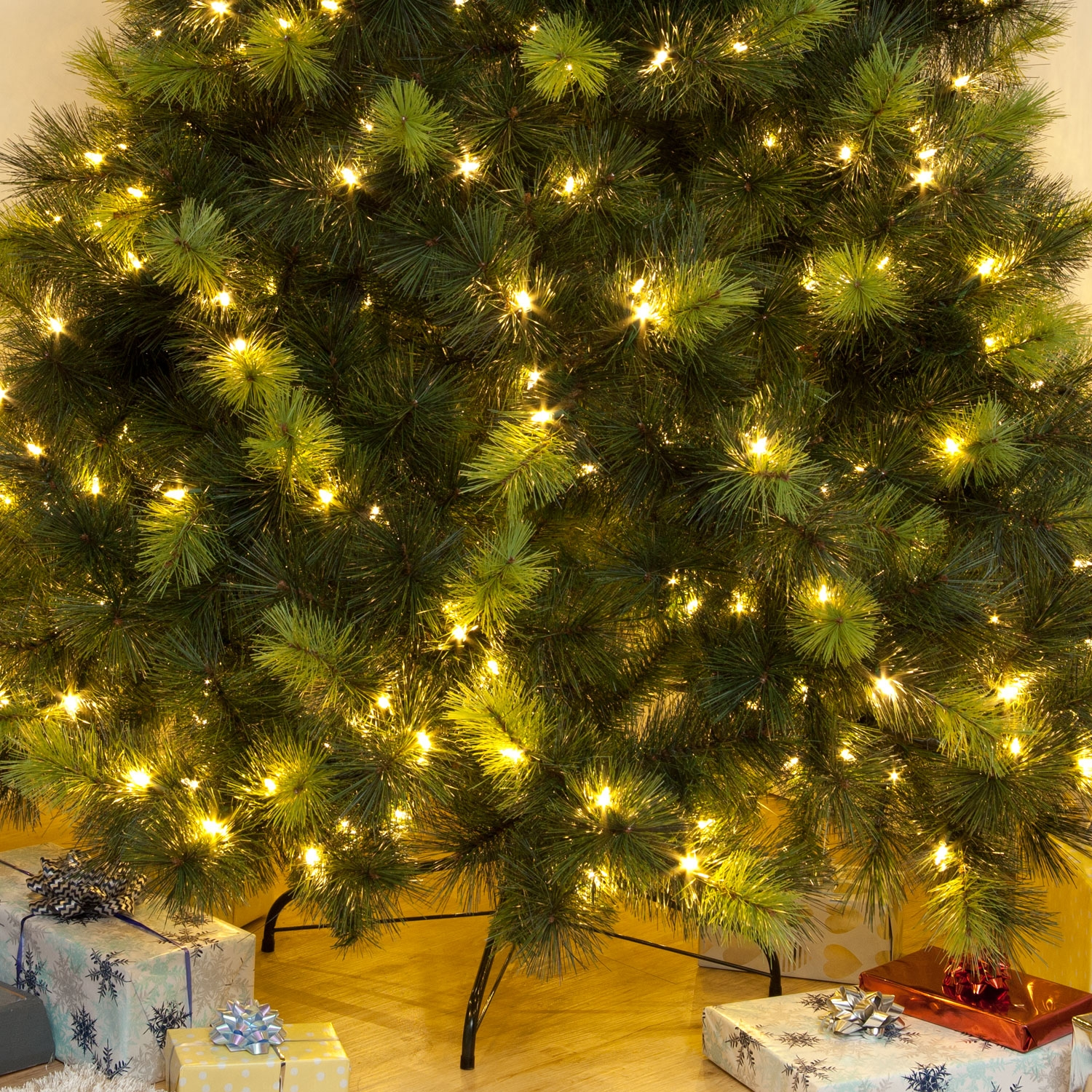 Pre-Lit Scots Pine Warm White LED Christmas Tree 5ft 6ft ...