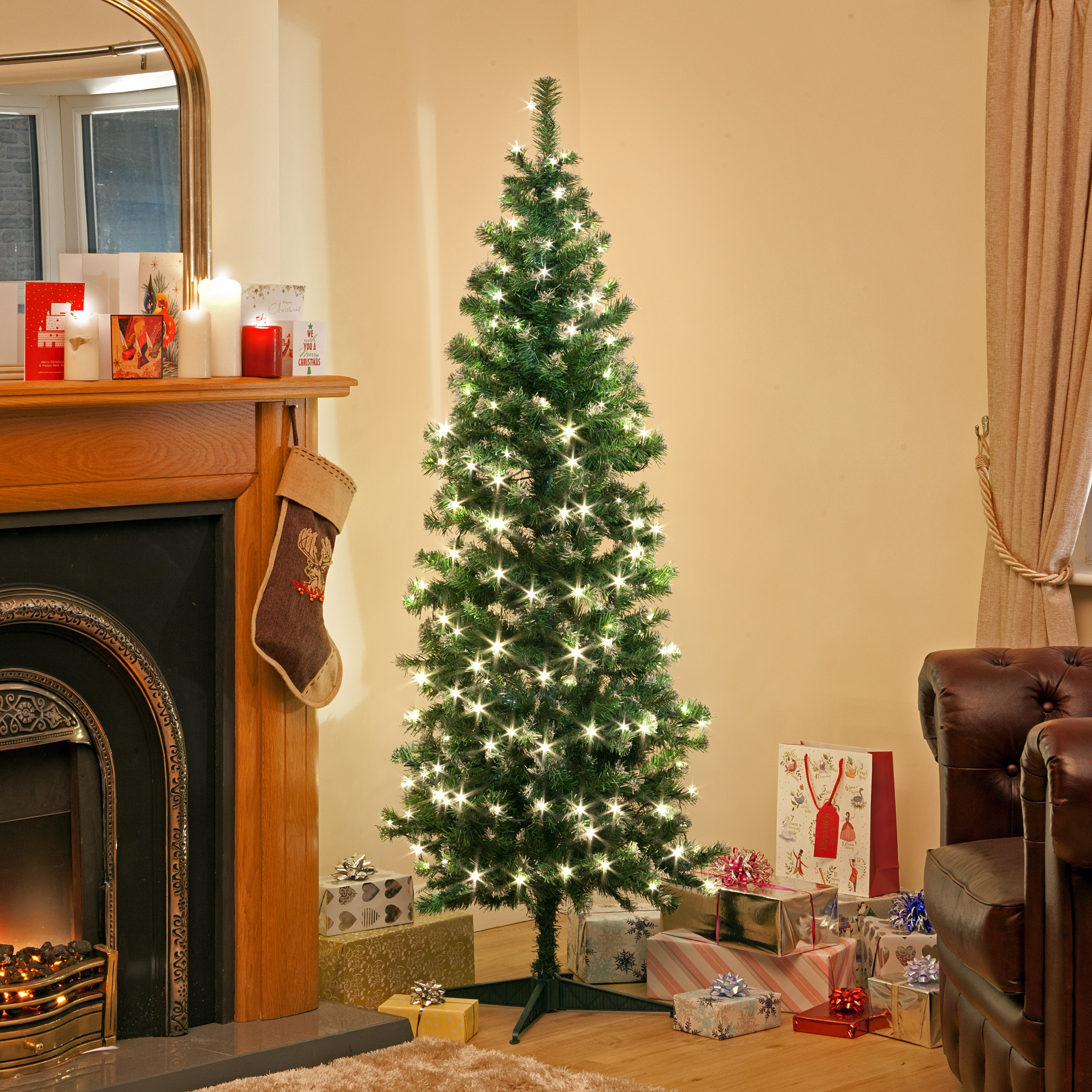 Pre Lit Deluxe Green Frosted Christmas Warm White Led Tree