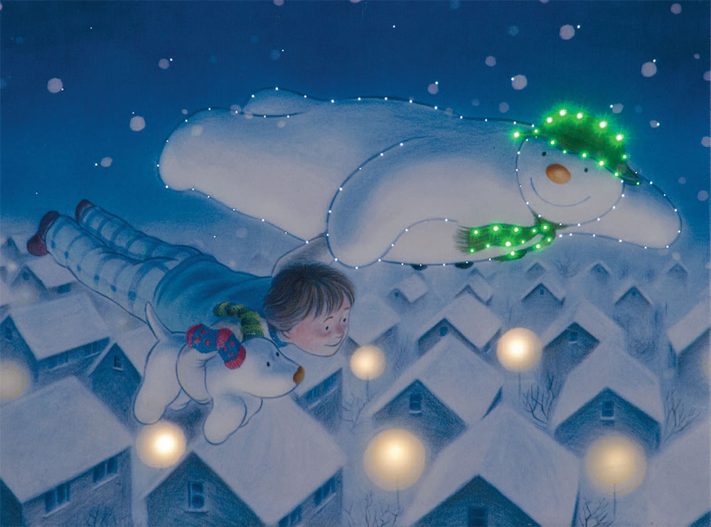50x40cm The Snowman Billy & Snowdog Flying over the Rooftops Large Canvas