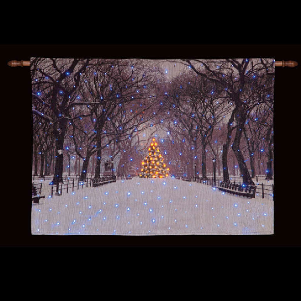 Snowy TreeLined Avenue Illuminated Hanging Tapestry
