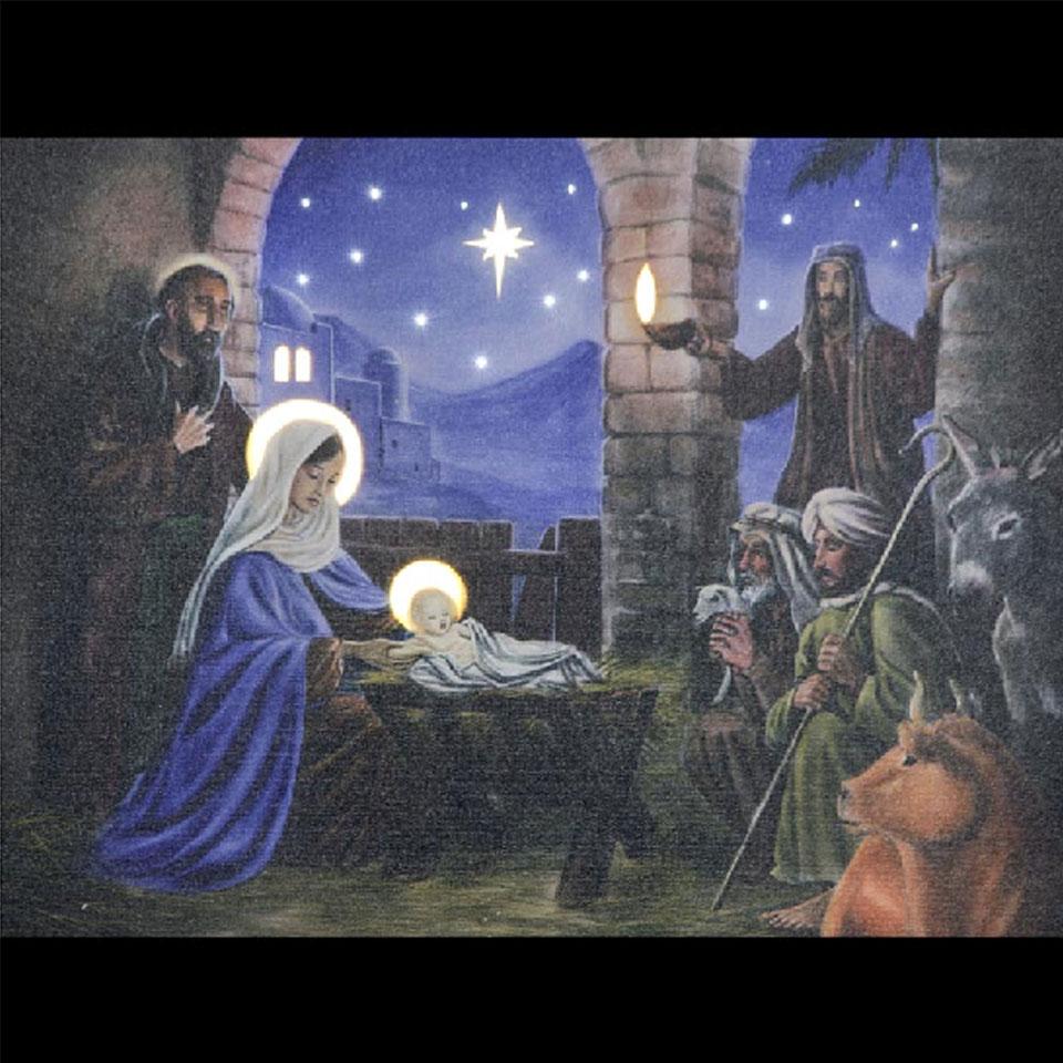 Christmas Trees and Lights Nativity Scene Illuminated Canvas
