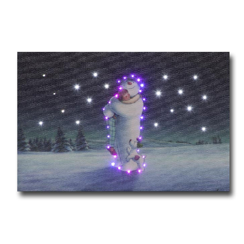 Click to view product details and reviews for 15x10cm The Snowman Billy Hugging Scene Illuminated Canvas.