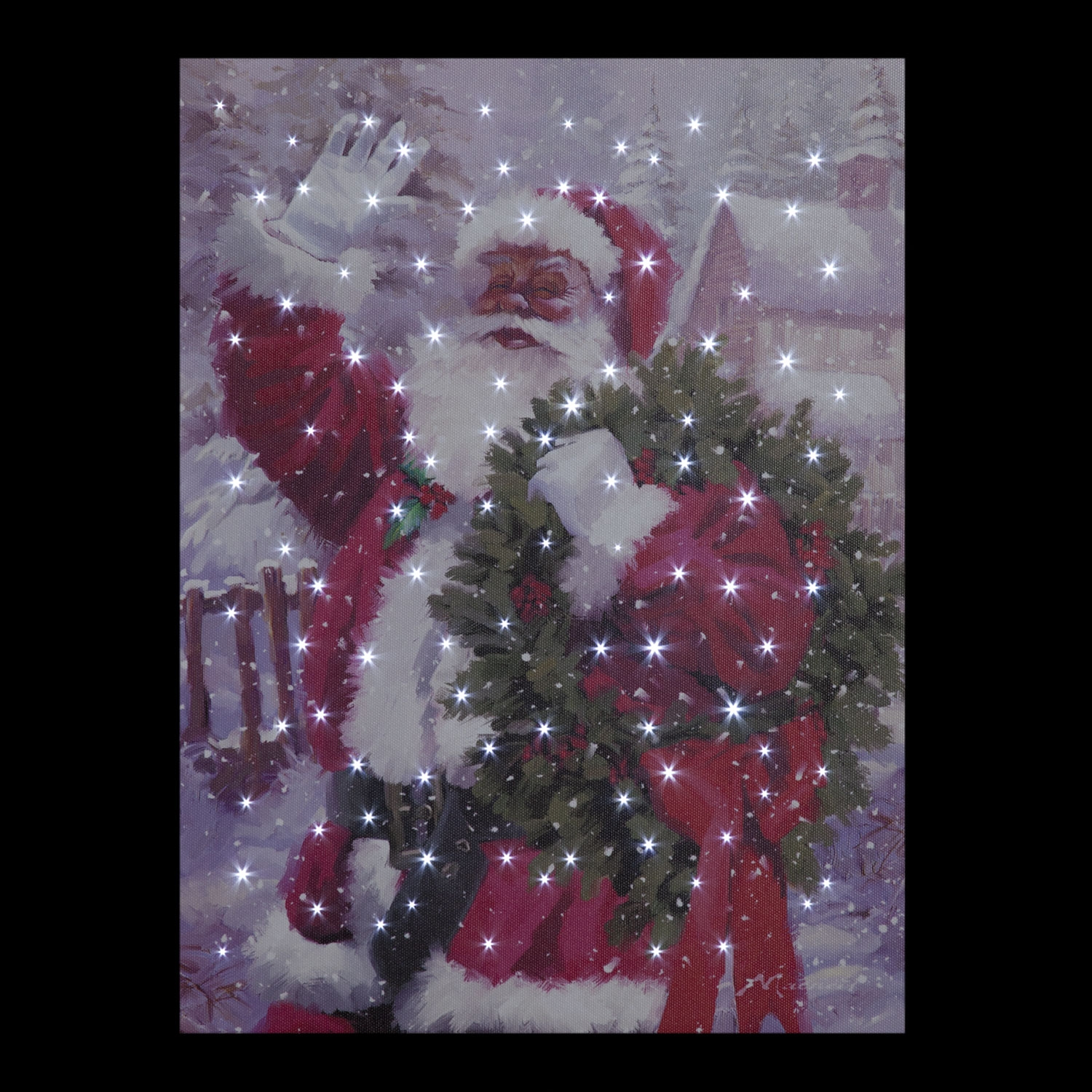 Click to view product details and reviews for Battery Operated Fiber Optic Santa Waving Canvas.