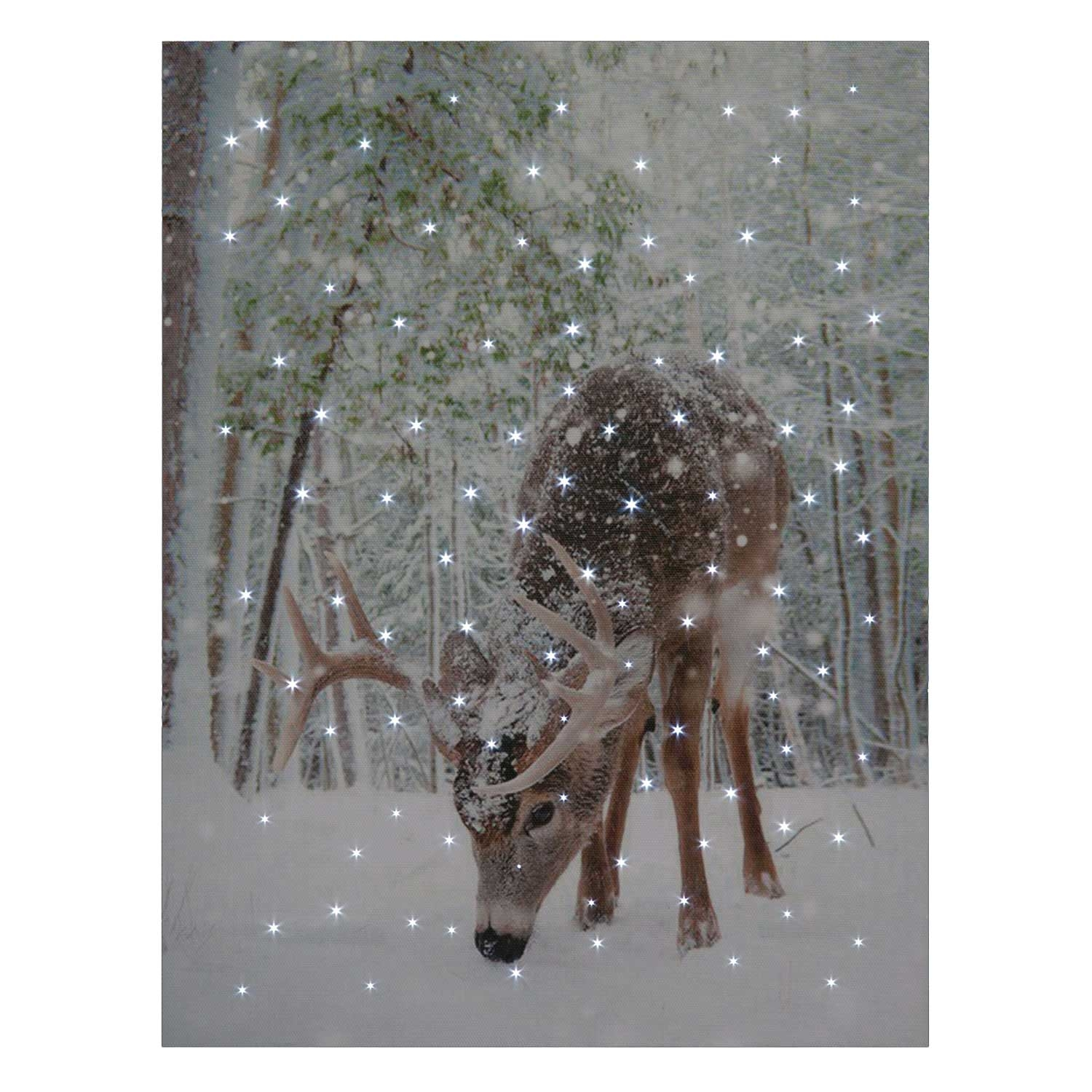 Click to view product details and reviews for Feeding Deer Snow Scene Led Canvas.