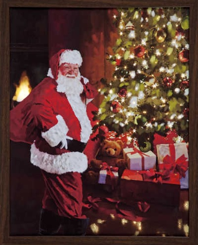 'Battery Operated Fibre Optic Led Framed Canvas With Santa & Christmas Tree 40cm X 50cm