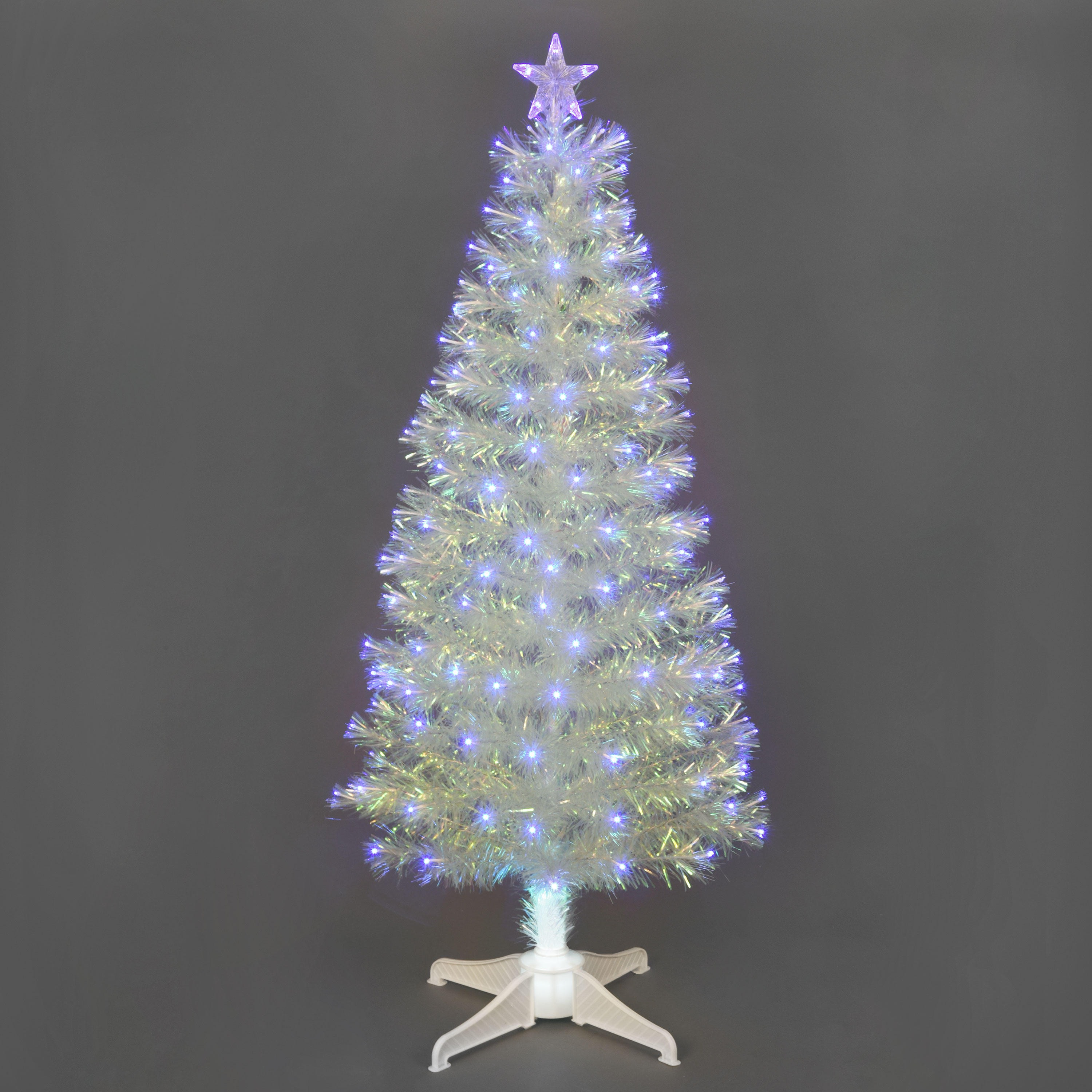 5ft Polar Ice White Fibre Optic Christmas Tree with Electric Blue LEDs