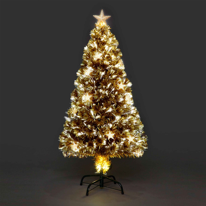 champagne star fibre optic christmas tree