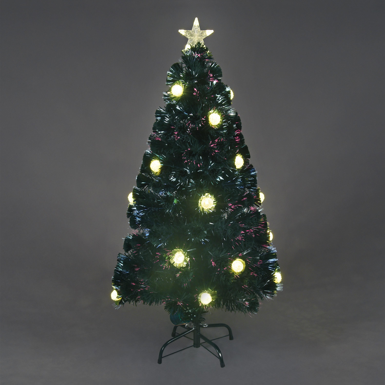 gold pom pom fibre optic pre lit christmas tree - Pre Lit Christmas Tree Reviews