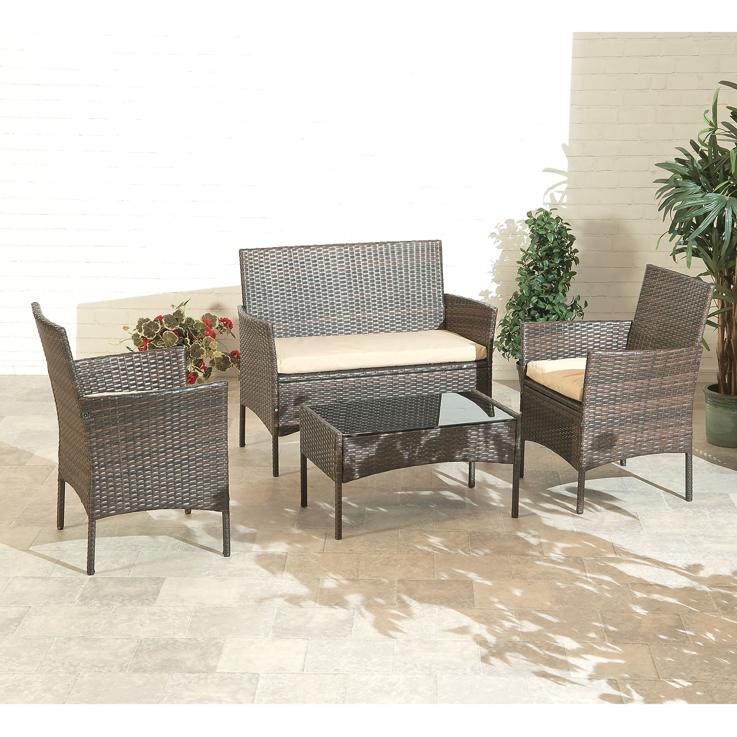 Fabulous Details About Suntime Rattan Garden Sofa Set 4 Piece Outdoor Patio Table Chairs Interior Design Ideas Inesswwsoteloinfo