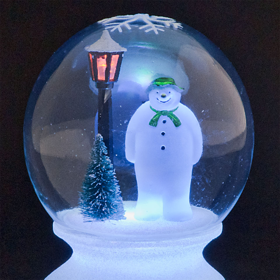 Battery Operated The Snowman Globe with multi-Coloured LED Lights