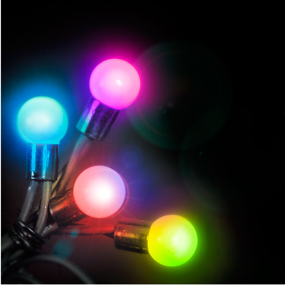 Click to view product details and reviews for 100 Connectable Colour Changing Led Globe Lights On Rubber Cable.