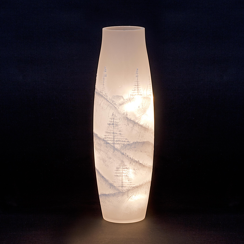 Winter Wonderland Tall Illuminated Glass Vase