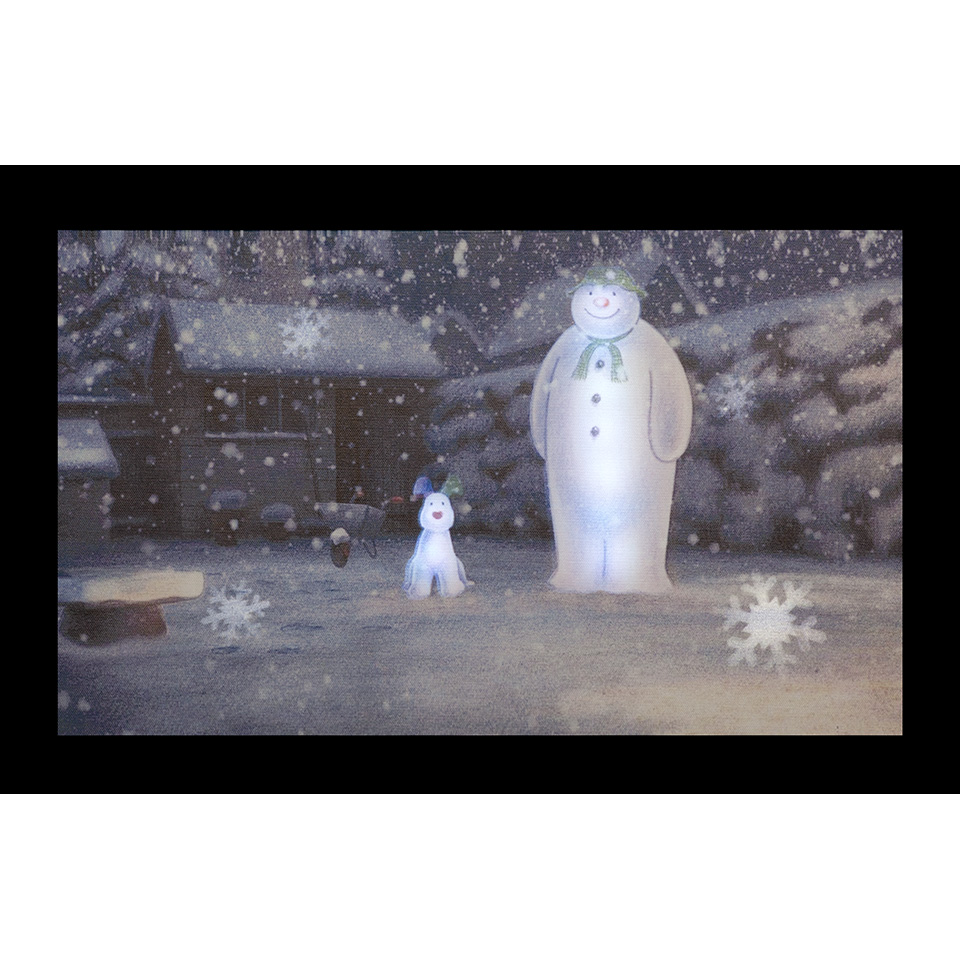 50x30cm The Snowman & The Snowdog In The Garden Wall Canvas