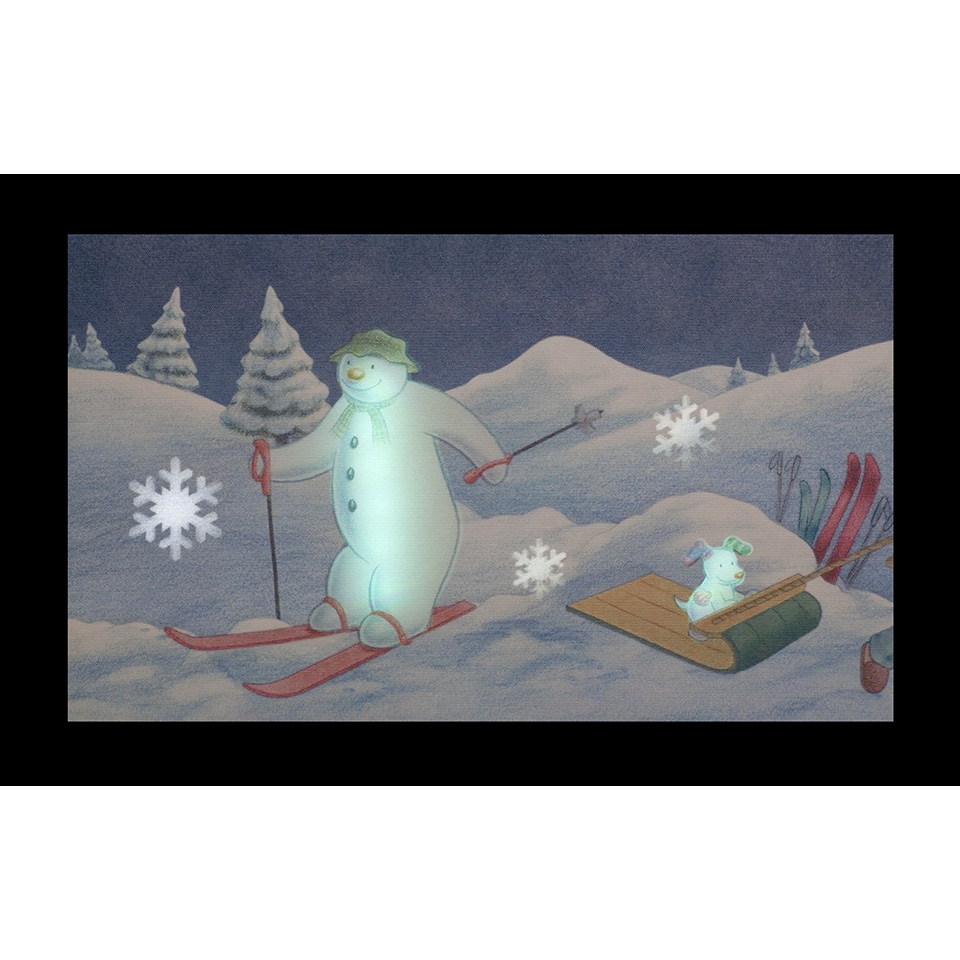 50x30cm The Snowman on Skiis & The Snowdog on Sled Wall Canvas