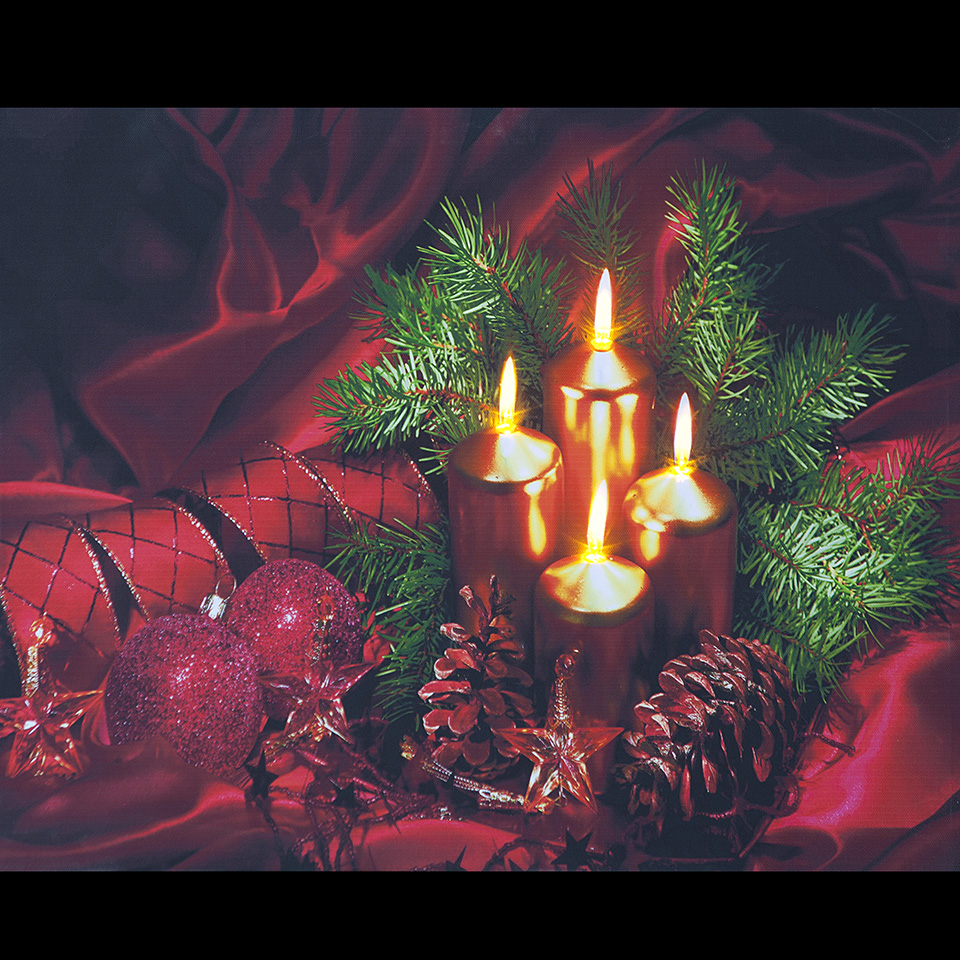 Battery Operated 40x30cm LED Candles, Ribbons, Cones, Baubles & Silk Canvas