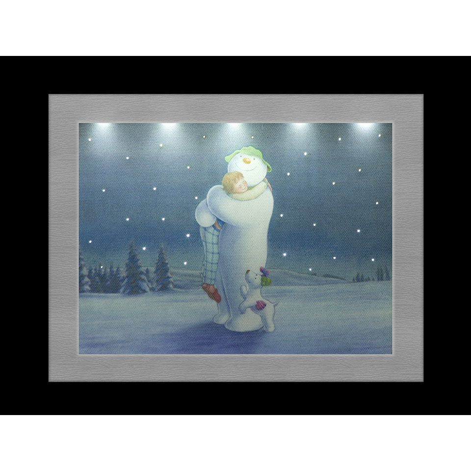 23x18cm The Snowman Billy & The Snowdog Cuddling Framed Canvas