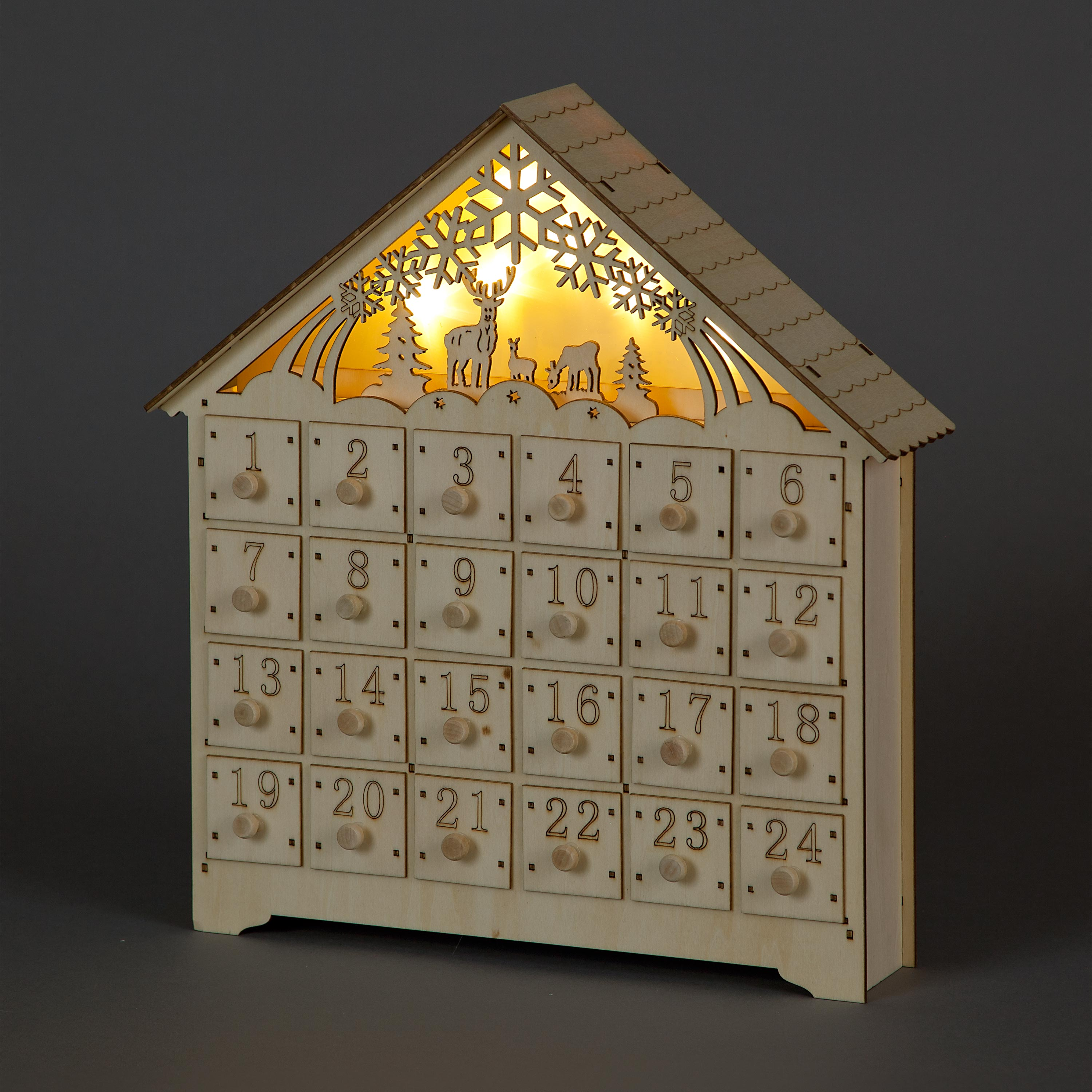 Hand-Carved Wooden Advent Calendar with Illuminated Christmas Scenery