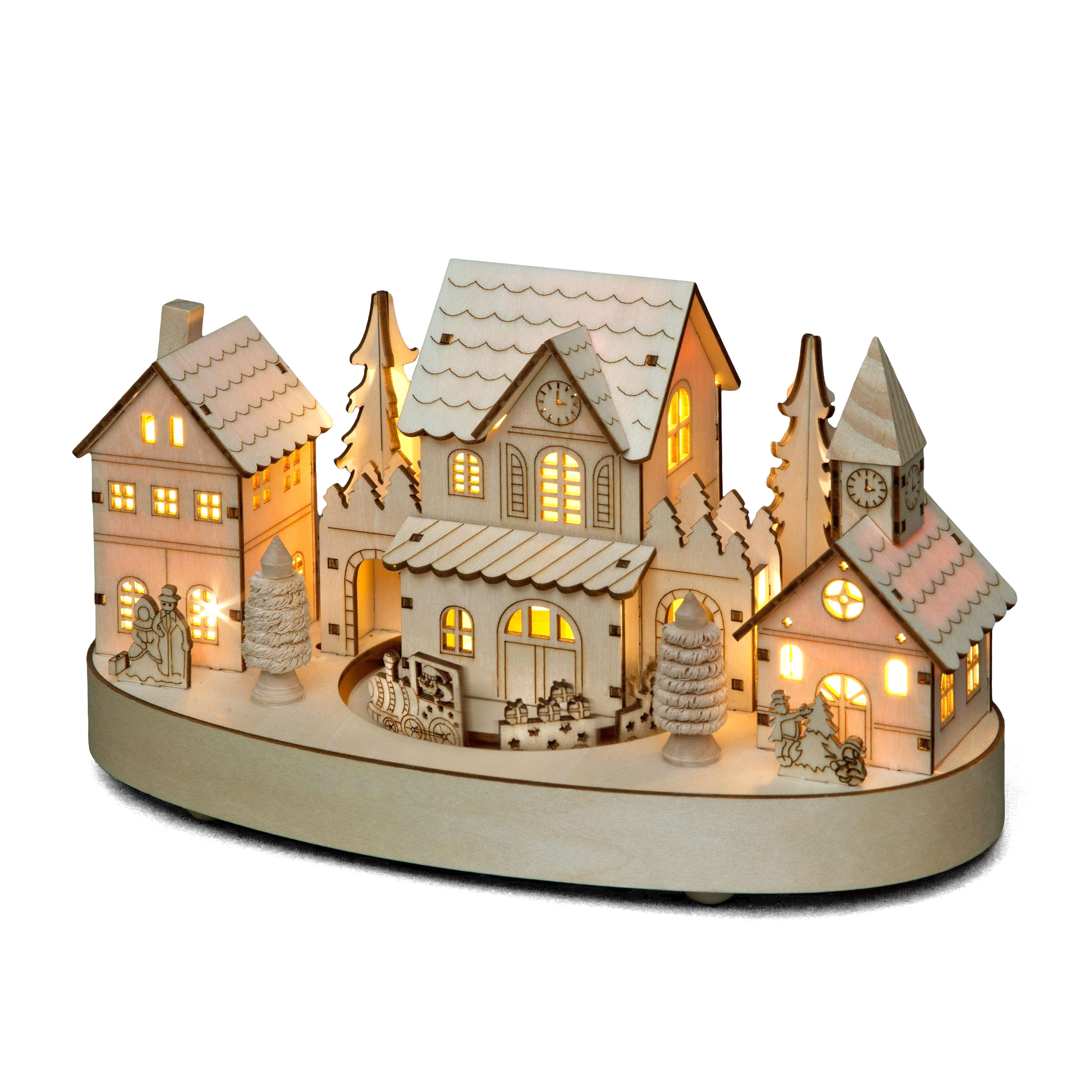 Wooden Village with Rotating Train with Warm White LEDs
