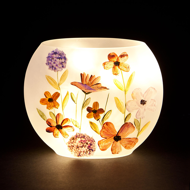 Christmas Decoration|Christmas Tree Decoration 'Pressed Flowers' Oval Vase with Warm White LEDs - Orange