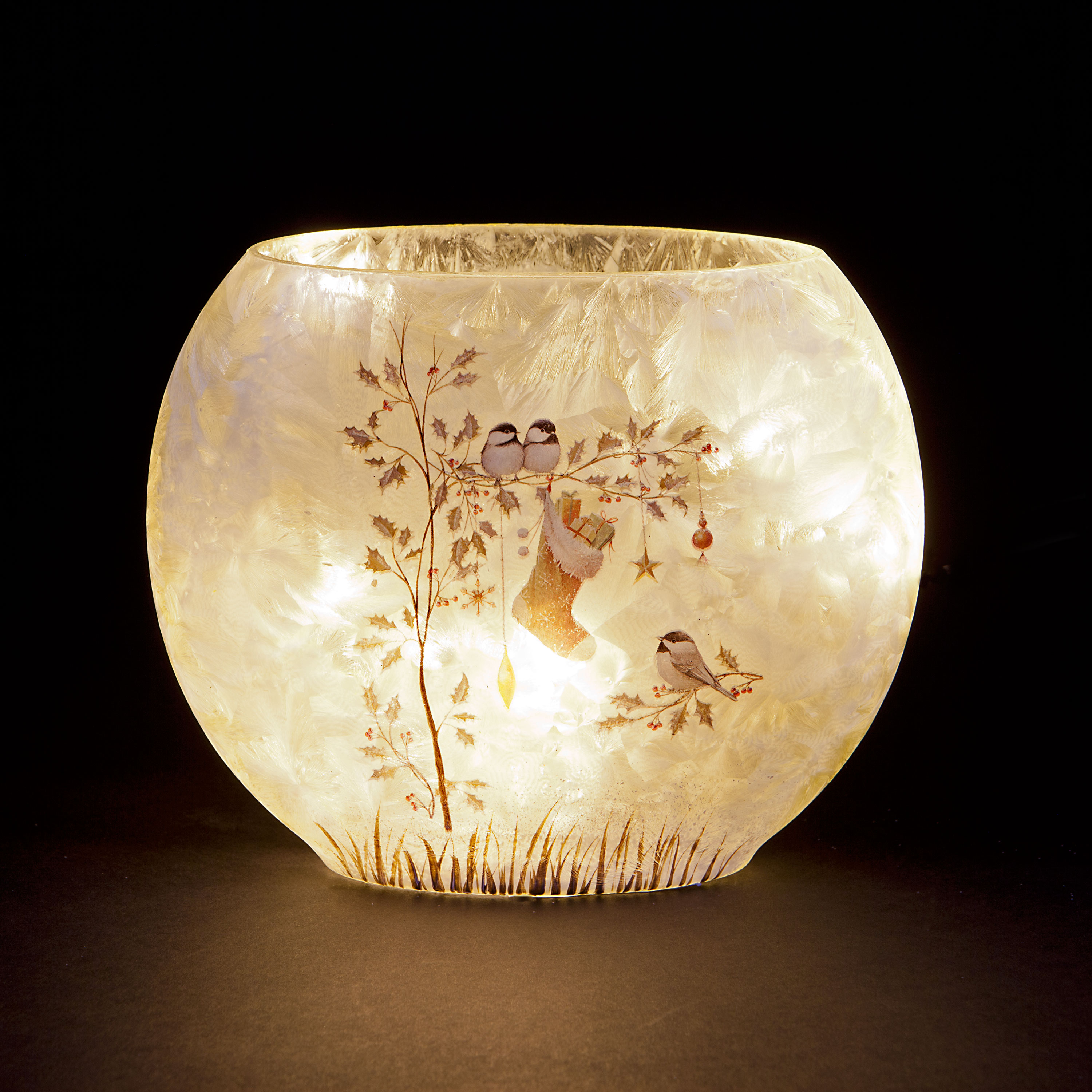 Illuminated Glass Bowl Vase with Christmas Gifts Design Holly Bird Stocking Presents